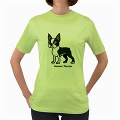 Boston Terrier Women s Green T Shirt