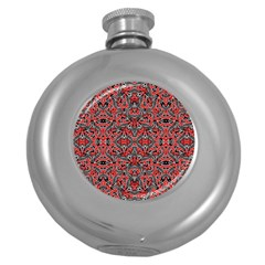Exotic Intricate Modern Pattern Round Hip Flask (5 Oz)