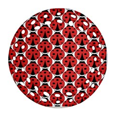 Ladybugs Pattern Round Filigree Ornament (two Sides)