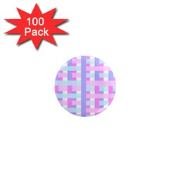 Gingham Nursery Baby Blue Pink 1  Mini Magnets (100 Pack)