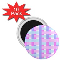 Gingham Nursery Baby Blue Pink 1 75  Magnets (10 Pack)