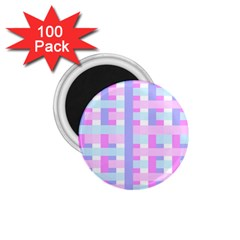 Gingham Nursery Baby Blue Pink 1 75  Magnets (100 Pack)