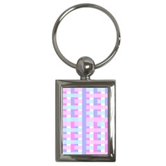 Gingham Nursery Baby Blue Pink Key Chains (rectangle)