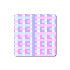 Gingham Nursery Baby Blue Pink Square Magnet