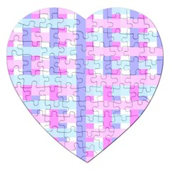Gingham Nursery Baby Blue Pink Jigsaw Puzzle (heart)