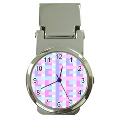 Gingham Nursery Baby Blue Pink Money Clip Watches