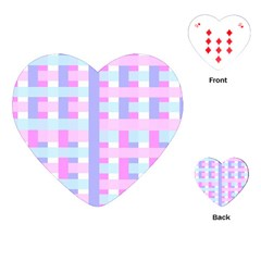 Gingham Nursery Baby Blue Pink Playing Cards (heart)