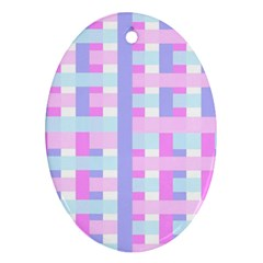 Gingham Nursery Baby Blue Pink Oval Ornament (two Sides)