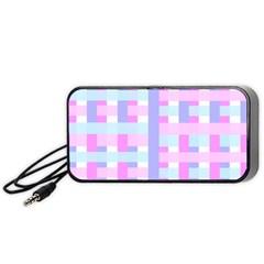 Gingham Nursery Baby Blue Pink Portable Speaker