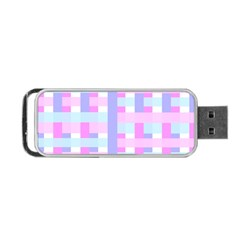 Gingham Nursery Baby Blue Pink Portable Usb Flash (two Sides)