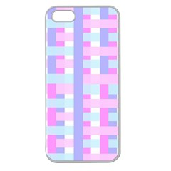 Gingham Nursery Baby Blue Pink Apple Seamless Iphone 5 Case (clear)