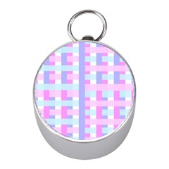 Gingham Nursery Baby Blue Pink Mini Silver Compasses