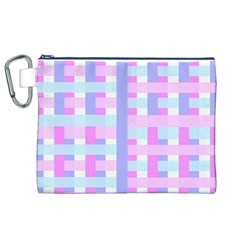 Gingham Nursery Baby Blue Pink Canvas Cosmetic Bag (xl)