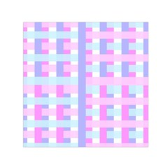 Gingham Nursery Baby Blue Pink Small Satin Scarf (square)