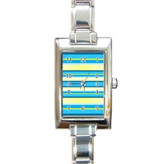 Stripes Yellow Aqua Blue White Rectangle Italian Charm Watch