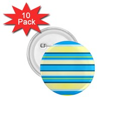 Stripes Yellow Aqua Blue White 1 75  Buttons (10 Pack)