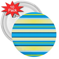 Stripes Yellow Aqua Blue White 3  Buttons (10 Pack)