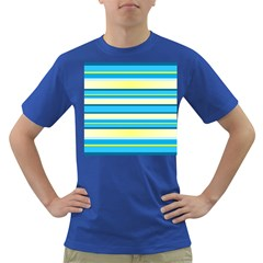 Stripes Yellow Aqua Blue White Dark T Shirt
