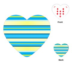 Stripes Yellow Aqua Blue White Playing Cards (heart)