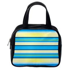 Stripes Yellow Aqua Blue White Classic Handbags (one Side)
