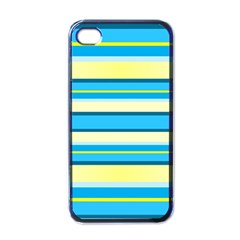Stripes Yellow Aqua Blue White Apple Iphone 4 Case (black)