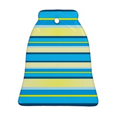 Stripes Yellow Aqua Blue White Bell Ornament (two Sides)