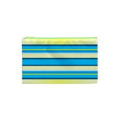 Stripes Yellow Aqua Blue White Cosmetic Bag (xs)