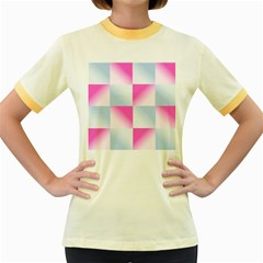 Gradient Blue Pink Geometric Women s Fitted Ringer T Shirts