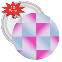 Gradient Blue Pink Geometric 3  Buttons (10 Pack)
