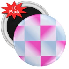 Gradient Blue Pink Geometric 3  Magnets (10 Pack)