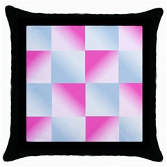 Gradient Blue Pink Geometric Throw Pillow Case (black)