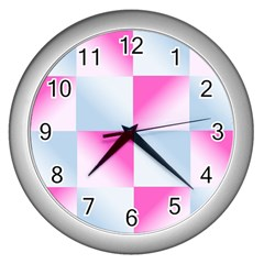 Gradient Blue Pink Geometric Wall Clocks (silver)