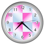 Gradient Blue Pink Geometric Wall Clocks (Silver)  Front