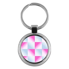 Gradient Blue Pink Geometric Key Chains (round)
