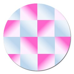 Gradient Blue Pink Geometric Magnet 5  (round)