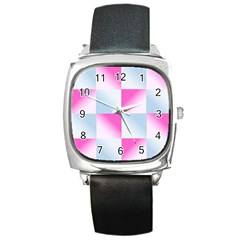 Gradient Blue Pink Geometric Square Metal Watch