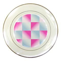 Gradient Blue Pink Geometric Porcelain Plates