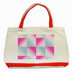 Gradient Blue Pink Geometric Classic Tote Bag (red)