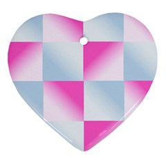 Gradient Blue Pink Geometric Heart Ornament (two Sides)