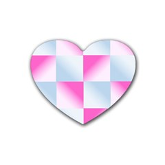 Gradient Blue Pink Geometric Rubber Coaster (heart)