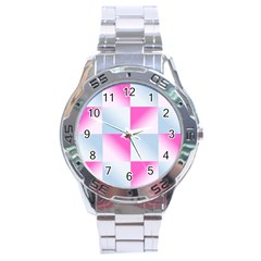 Gradient Blue Pink Geometric Stainless Steel Analogue Watch