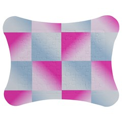 Gradient Blue Pink Geometric Jigsaw Puzzle Photo Stand (bow)