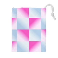 Gradient Blue Pink Geometric Drawstring Pouches (extra Large)