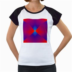 Geometric Blue Violet Red Gradient Women s Cap Sleeve T