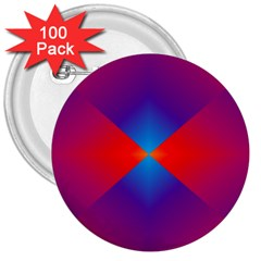 Geometric Blue Violet Red Gradient 3  Buttons (100 Pack)