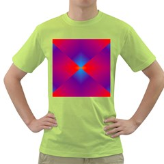 Geometric Blue Violet Red Gradient Green T Shirt