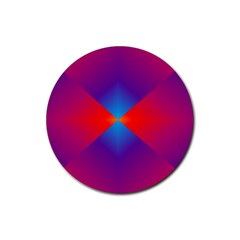 Geometric Blue Violet Red Gradient Rubber Round Coaster (4 Pack)