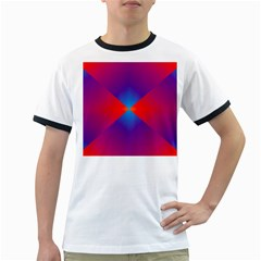 Geometric Blue Violet Red Gradient Ringer T Shirts