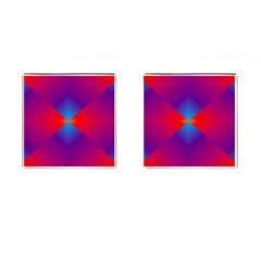 Geometric Blue Violet Red Gradient Cufflinks (square)