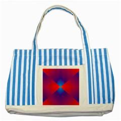Geometric Blue Violet Red Gradient Striped Blue Tote Bag